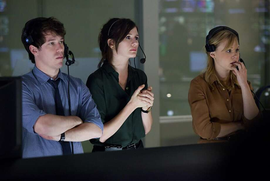 "Jeff Daniels, left, plays a news anchor in ""The Newsroom""; above, John Gallagher Jr. (left), Emily Mortimer and Alison Pill in the cable TV news drama, which has a somewhat didactic tone. Photo: John P. Johnson, HBO"