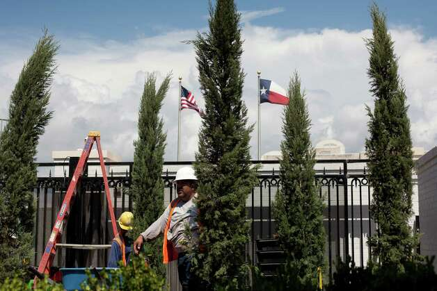 The Governor's Mansion is almost ready for Texas' first family to resume residence. An arson fire nearly destroyed the building in 2008. Work crews are finishing landscaping, irrigation and lighting systems as furniture, artifacts, and decor are installed ahead of the Governor's return to the mansion expected in late July. Photo: Julia Robinson / Julia Robinson © 2012