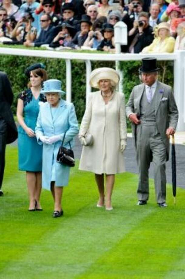 ASCOT, ENGLAND - JUNE 19: (L-R) Princess Eugenie, Queen Elizabeth II, Camilla, Duchess of Cornwall and Prince Charles, Prince of Wales attend day one of Royal Ascot at Ascot Racecourse on June 19, 2012 in Ascot, England.  (Getty Images)