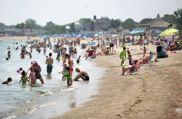 Jennings Beach in Fairfield is packed as temperatures reached into the 90's for the first day of summer on Wednesday, June 20, 2012. Photo: Brian A. Pounds / Connecticut Post