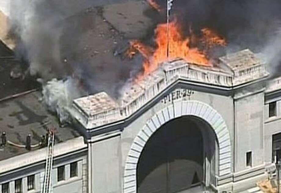 A 4-alarm fire is burning at Pier 29 in San Francisco on Wednesday afternoon. Photo: CBS San Francisco