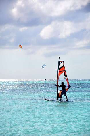 Windsurfing at Arashi Beach in Aruba. Photo: Melissa Ward Aguilar