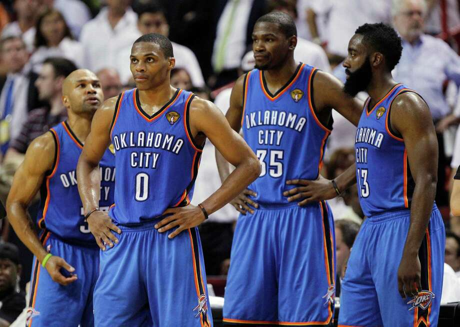 Derek Fisher (left), Russell Westbrook, Kevin Durant, James Harden and the rest of the Thunder face the unprecedented task of rallying from a 3-1 deficit in the Finals. Photo: AP