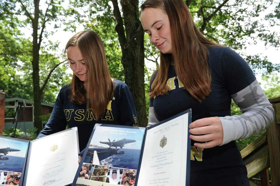Naval Academy training begins for twin Greenwich girls