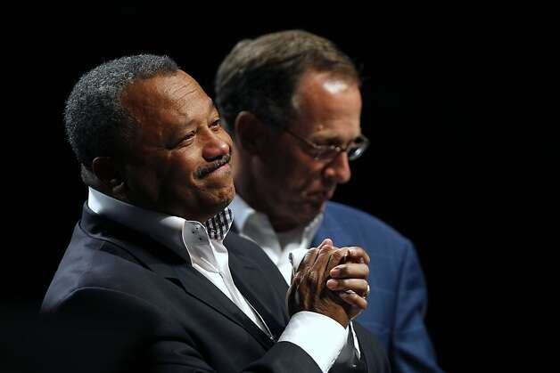 Fred Luter, Pastor of the Franklin Ave. Baptist Church in New Orleans , reacts to the audience as he is elected as president of the Southern Baptist Convention, at the convention in New Orleans, Tuesday, June 19, 2012. Luter is the first African-American to be elected president of the nation's largest Protestant denomination. Behind him is current president Bryant Wright. (AP Photo/Gerald Herbert) Photo: Gerald Herbert, Associated Press