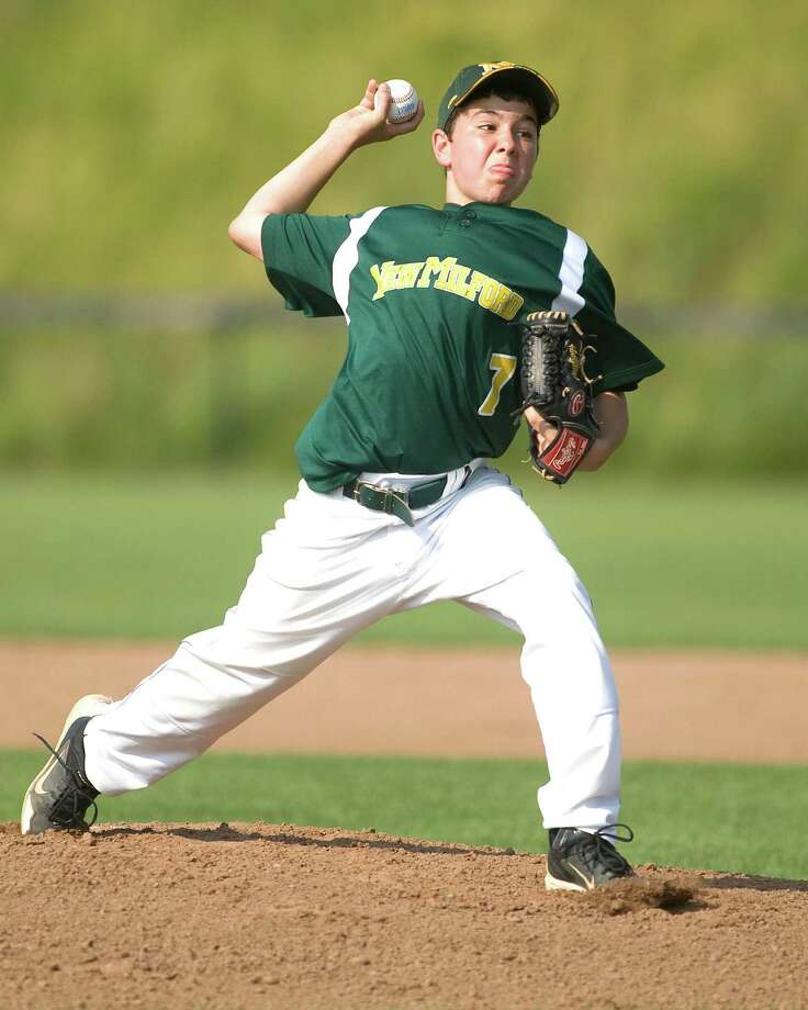 New Milford's Robert Mosso was the first game starter against Pomperaug in the Jimmy Fund 13-year-old championship game Tuesday on the Fairfield Hills campus in Newtown. Photo: Barry Horn / The News-Times Freelance