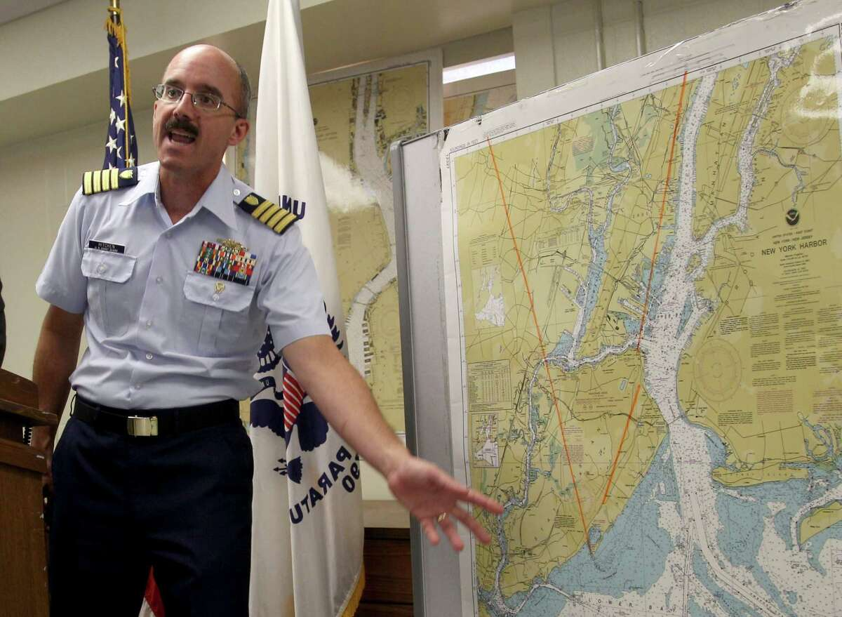 Coast Guard Capt. Gregory Hitchen on Wednesday describes the search off Sandy Hook, N.J., this month triggered by a bogus call like the Galveston one.