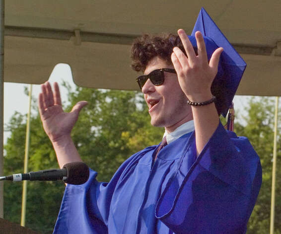 Bennett Cognato speaks during the graduation ceremony at Danbury High School on Wednesday, June 20, 2012. Photo: Jason Rearick / The News-Times