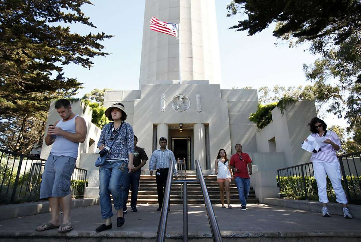 Visitors check out Coit Tower in San Francisco, Calif., Wednesday, June 20, 2012.