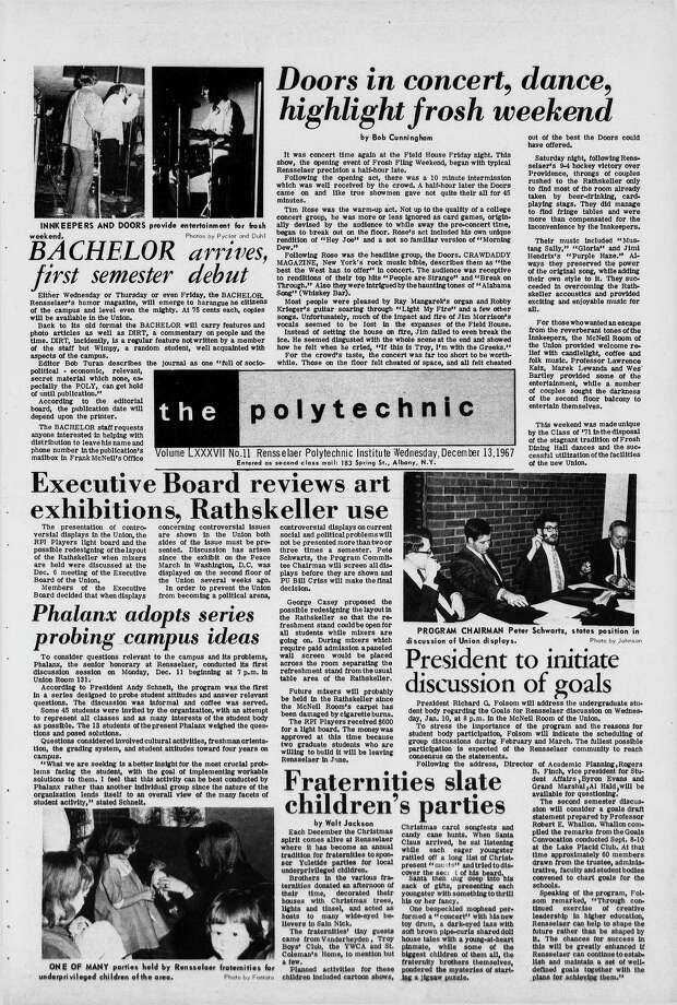 Coverage of The Doors' Dec. 8, 1967, RPI Field House concert from Rensselaer Polytechnic Institute's newspaper, The Polytechnic. (Courtesy of Rensselaer Polytechnic Institute Archives and Special Collections)