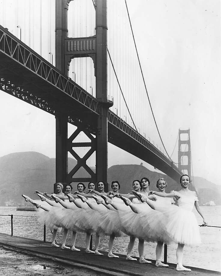 Members of San Francisco Ballet pose beneath the Golden Gate Bridge on the eve of the first Far East Tour (1957). Photo: Courtesy Of SF Ballet