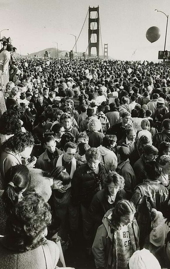 Thousands of people gather at the south end of the Golden Gate Bridge for the 50th anniversary celebration on May 24, 1987. Photo: Frederic Larson, The Chronicle