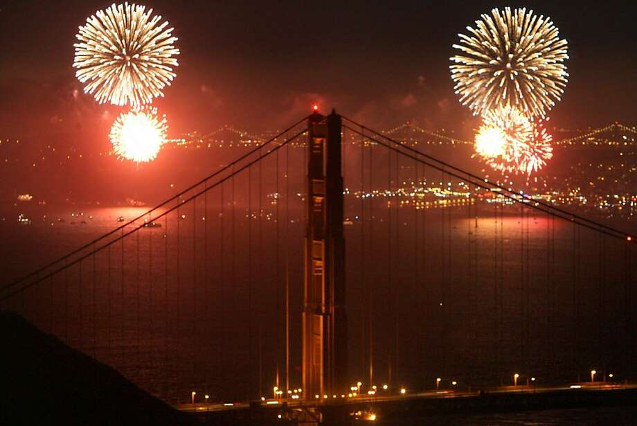 Fireworks over the Golden Gate Bridge, looking back from the Marin Headlands, on July 4th, 2006. Photo: Liz Mangelsdorf, The Chronicle