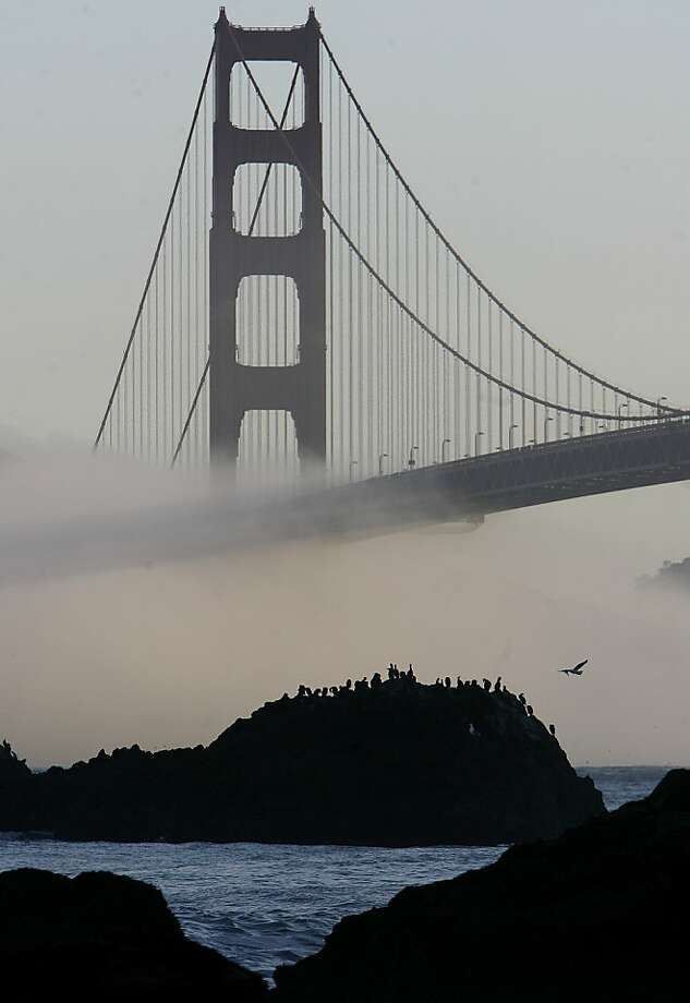 The Southern Tower at sunrise from Baker Beach. Photo: Michael Macor, The Chronicle