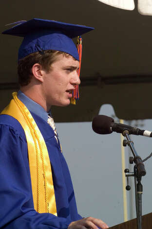 Valedictorian Alexander Coco addresses the Class of 2012 during the graduation ceremony at Danbury High School on Wednesday, June 20, 2012. Photo: Jason Rearick / The News-Times
