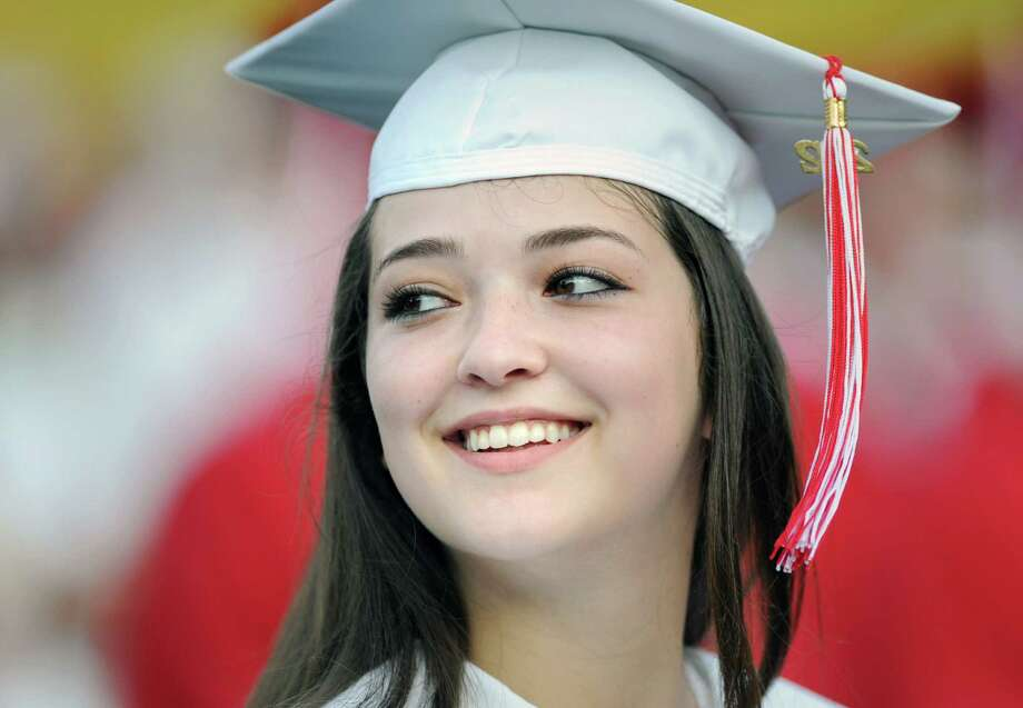 Graduating senior Shara Bromberg, 17, during the Greenwich High School 2012 commencement at Cardinal Stadium Wednesday night, June 20, 2012. Bromberg said she will be attending New York University in the fall. Photo: Bob Luckey / Greenwich Time