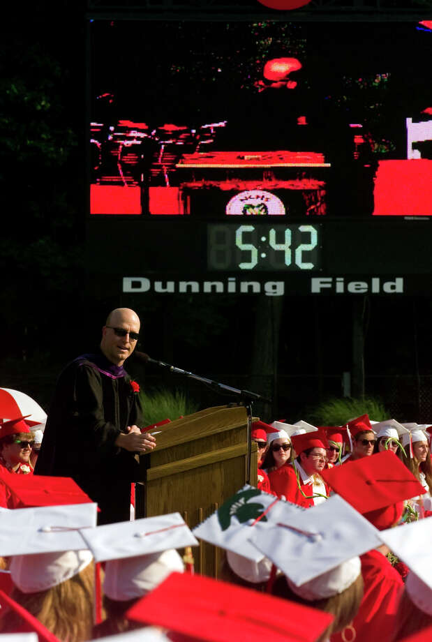 Stephen Vehslage gives the address during, New Canaan High School's Class of 2012 Graduation Ceremony in New Canaan, Conn. on Wednesday June 20, 2012. Photo: Christian Abraham / Connecticut Post