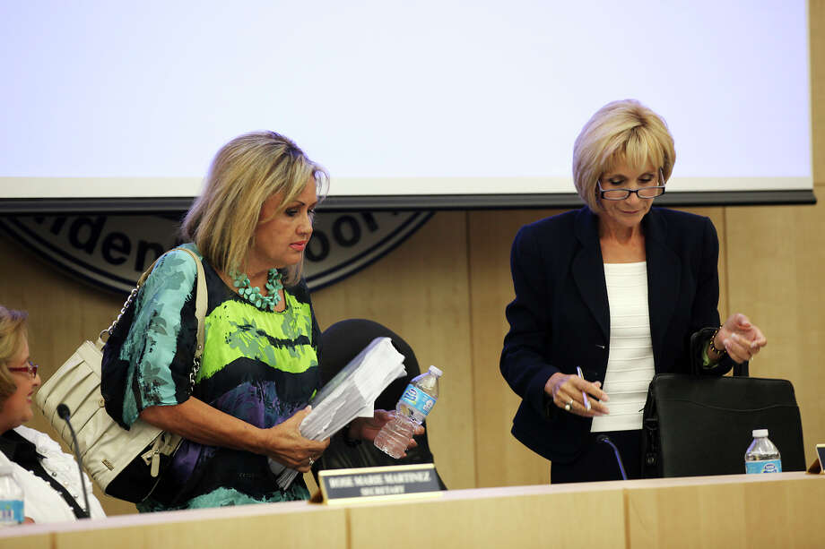 South San Antonio Independent School District board members Helen Madla and Connie Prado, who are often on opposing sides, teamed up in the decision to hire an interim superintendent. Photo: Jerry Lara, San Antonio Express-News / © 2012 San Antonio Express-News