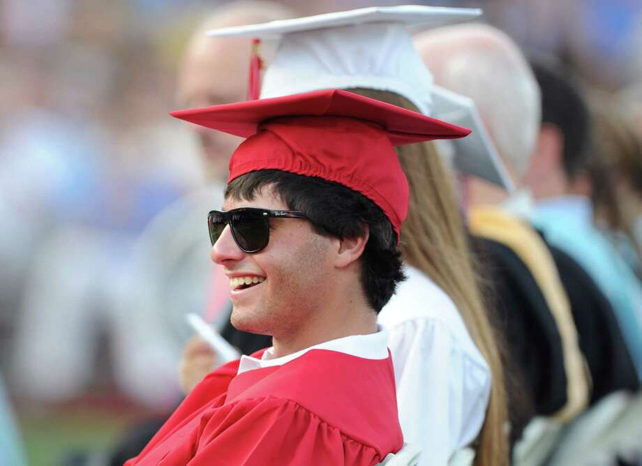 William Aronsson, 18, during the Greenwich High School 2012 commencement at Cardinal Stadium Wednesday night, June 20, 2012. Photo: Bob Luckey / Greenwich Time