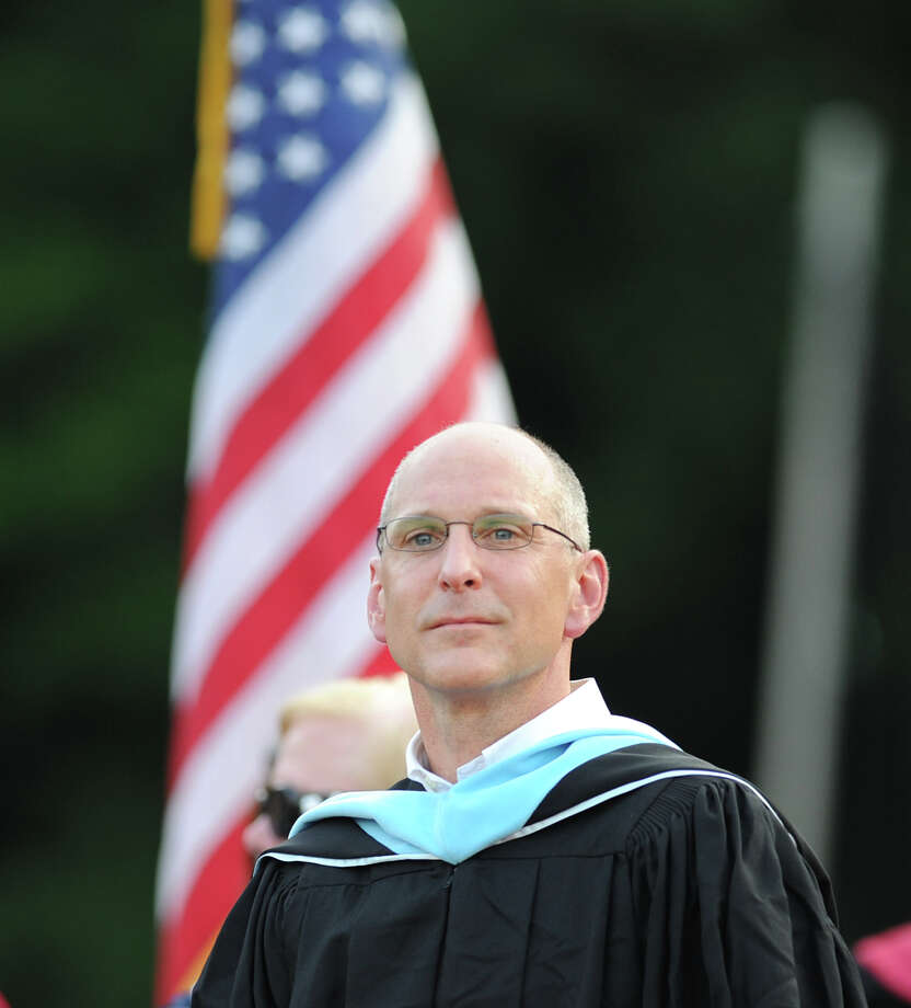 GHS Headmaster Chris Winters during the Greenwich High School 2012 commencement at Cardinal Stadium Wednesday night, June 20, 2012. Photo: Bob Luckey / Greenwich Time