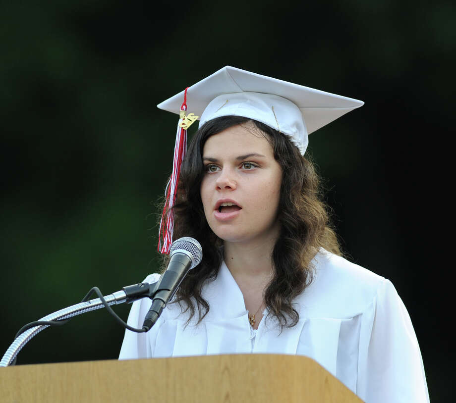 Michelle Socher gives the Valedictory address during the Greenwich High School 2012 commencement at Cardinal Stadium Wednesday night, June 20, 2012. Socher was one of three Valedictorians. Photo: Bob Luckey / Greenwich Time