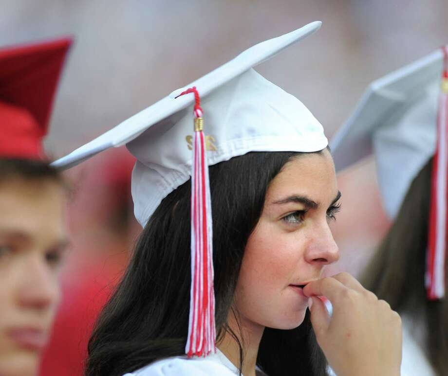 Nicole Birkhold, 17, during the Greenwich High School 2012 commencement at Cardinal Stadium Wednesday night, June 20, 2012. Birkhold said she would be attending Bucknell University in central Pennsylvania. Photo: Bob Luckey / Greenwich Time