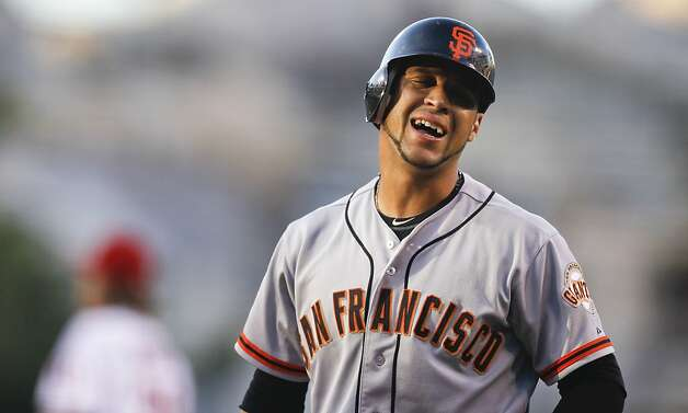 San Francisco Giants' Gregor Blanco reacts after striking out against the Los Angeles Angels during the first inning of a baseball game in Anaheim, Calif., Wednesday, June 20, 2012. (AP Photo/Chris Carlson) Photo: Chris Carlson, Associated Press