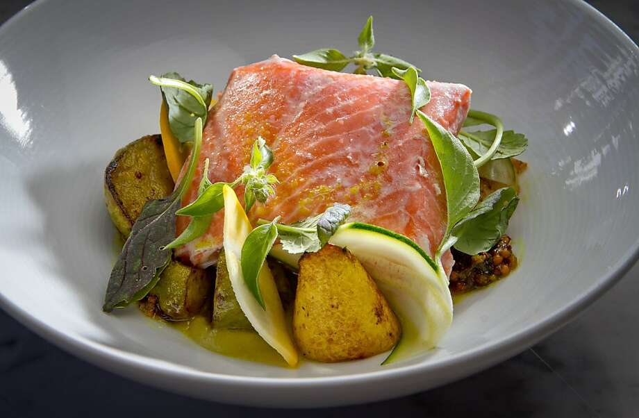 King Salmon with Vadouvan, Squash and Mustard Greens at Local's Corner restaurant in San Francisco, Calif., is seen on Friday, June 15th, 2012. Photo: John Storey, Special To The Chronicle
