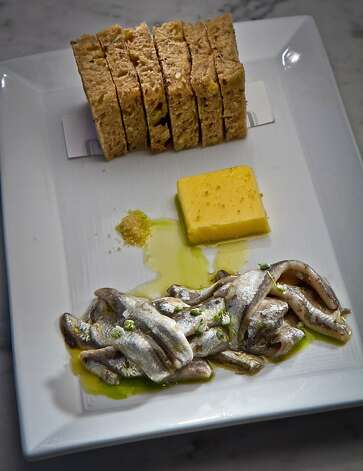 Cured Anchovies with Citrus Salt and Strauss Butter at Local's Corner restaurant in San Francisco, Calif., is seen on Friday, June 15th, 2012. Photo: John Storey, Special To The Chronicle