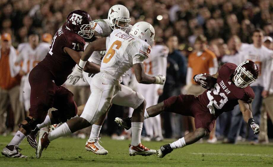 Texas and Texas A&M have not played each other in football since the 2011 season, the Aggies' last campaign in the Big 12 before their move to the SEC.Click through the gallery to see more photos from the last Texas vs. Texas A&M game. Photo: Brett Coomer, Houston Chronicle / © 2011 Houston Chronicle