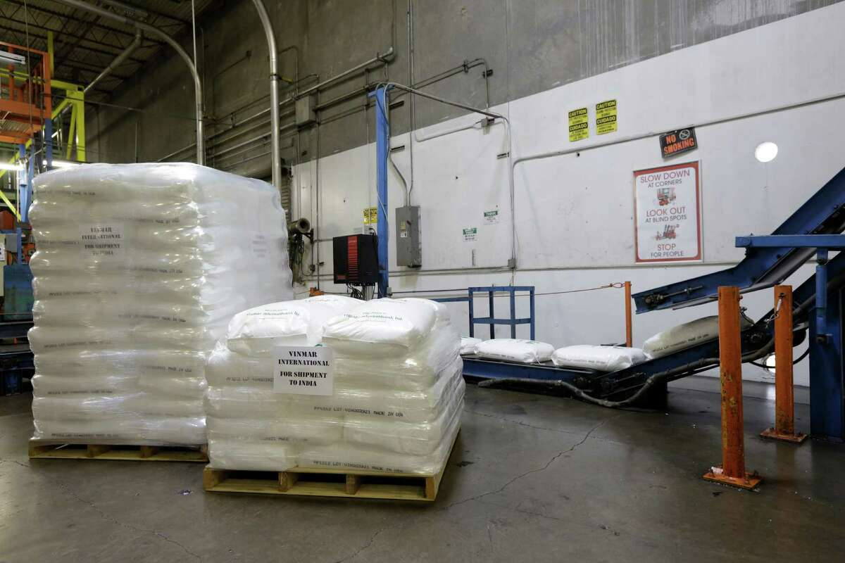 Prepared palettes of plastic pellets are seen, Friday, June 8, 2012 at the Vinmar International warehouse in Houston, Texas. (TODD SPOTH FOR THE CHRONICLE)
