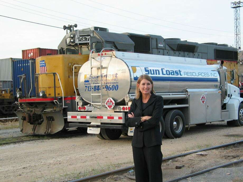 Kathy Lehne is at Union Pacific's rail terminal in Houston. Sun Coast Resources has been providing locomotive fuel to U.P. for over two decades. Sun Coast Resources is being recognized as a top private company in the Chronicle 100. Lehne is founder and president of the Houston-based company. Photo: Courtesy Photo