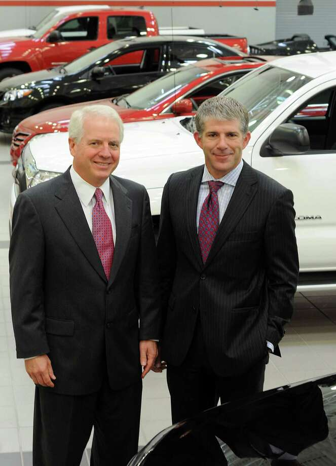 Vice presidents Tom Bittenbender and Jeff Parent at Gulf States Toyota Friday May 18,2012. (Dave Rossman/For the Chronicle) Photo: Dave Rossman / © 2012 Dave Rossman