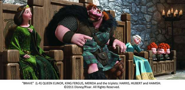 """BRAVE"" (L-R) QUEEN ELINOR, KING FERGUS, MERIDA and the triplets: HARRIS, HUBERT and HAMISH. Photo: Pixar, Walt Disney Films"