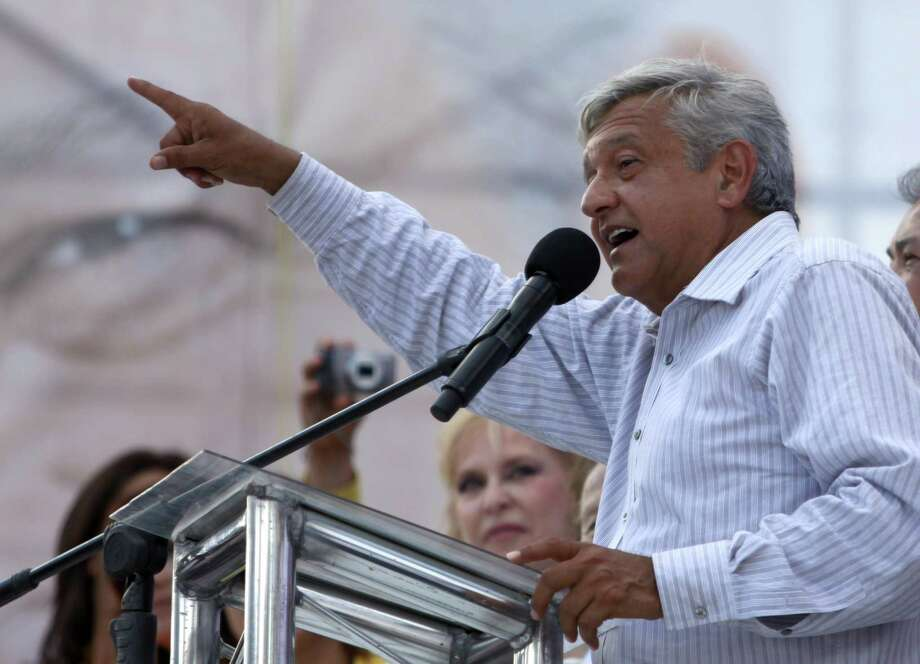 Mexican presidential candidate for the leftist coalition Progressive Movement of Mexico, Andres Manuel Lopez Obrador delivers a speech during a campaign rally, before the upcoming elections on July 1, in Monterrey, Nuevo Leon State, Mexico, on June 20, 2012. AFP PHOTO/Julio Cesar AGUILAR        (Photo credit should read Julio Cesar Aguilar/AFP/GettyImages) Photo: AFP, Getty Images / 2012 AFP