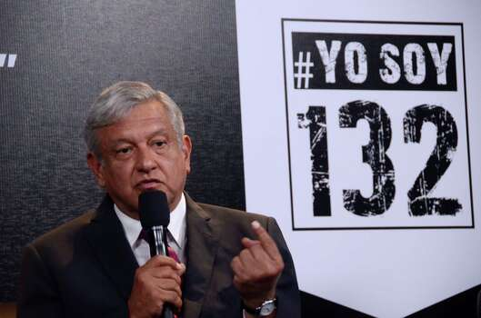 "A handout photo released by the student movement ""I Am #132"" (Yo Soy #132) shows Andres Manuel Lopez Obrador of the leftist coalition Progressive Movement of Mexico during the debate of presidential candidates in Mexico City on June 19, 2012.  Elections will take place next July 1 in Mexico.     AFP PHOTO/ YO SOY #132 - Jose Solorzano        (Photo credit should read JOSE ANDRES SOLORZANO/AFP/GettyImages) Photo: AFP, Getty Images / 2012 AFP"