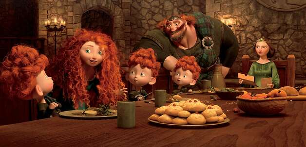 BRAVE  (L-R) MERIDA amongst the triplets: HARRIS, HUBERT and HAMISH; KING FERGUS and QUEEN ELINOR. Photo: Disney/Pixar