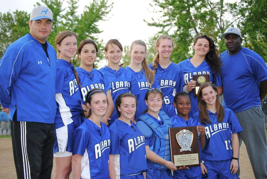 Albany Falcons win own tournament for first time. Team members are: (front row, from left) Jessie LeFrancois, Julie Miller, Courtney Miller, Marcia Ellis, and Hannah Sheehan. Back Row: Head Coach Zach Tacelli, Lexi Hughes, McKenzie Honikel, Michaela Pickett, Mia Valentine, Emily Andrews, Gina Torres, and Coach Decky Lawson.