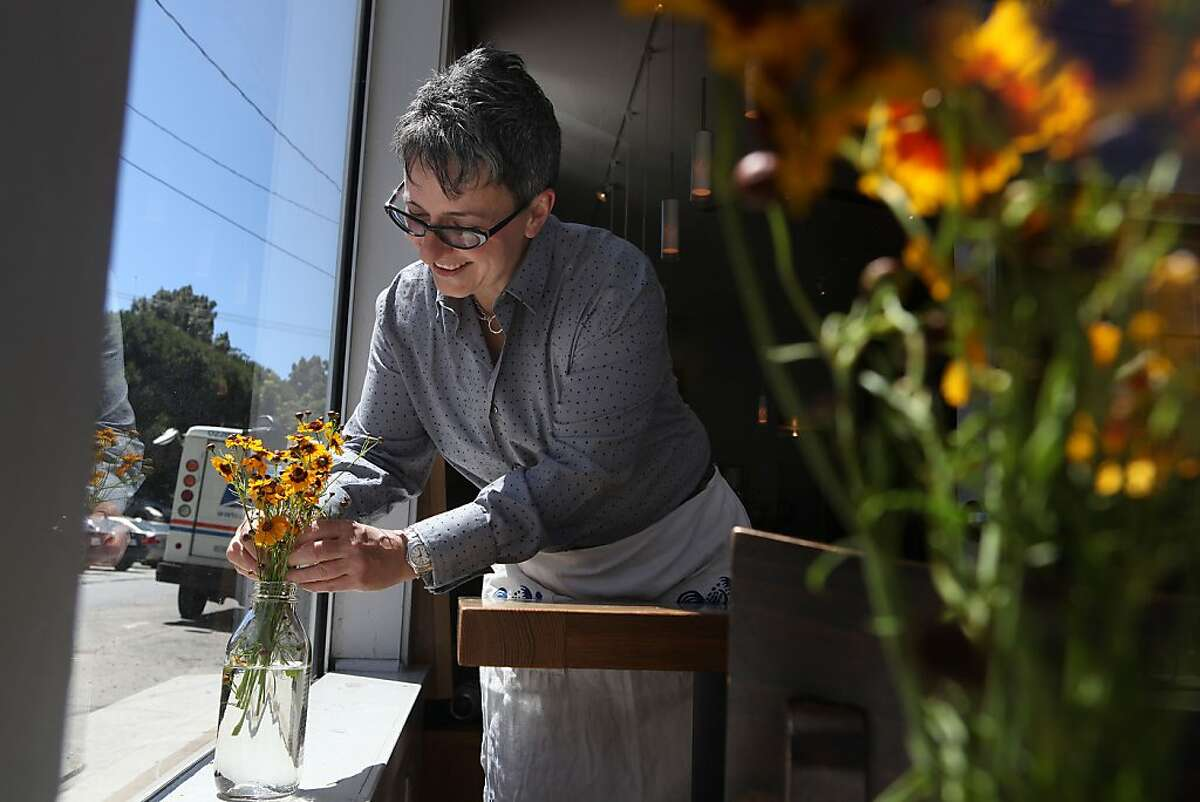Owner Sharon Ardiana arranging flowers at Gialina in San Francisco, California, on Wednesday, June 20, 2012. She says she likes her arrangements homespun.