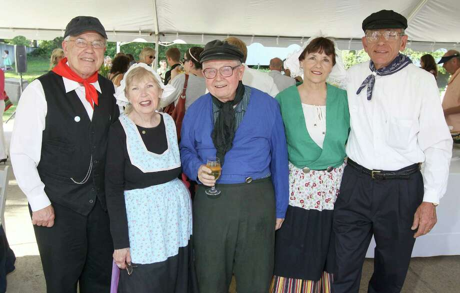 Albany, NY - June 15, 2012 - (Photo by Joe Putrock/Special to the Times Union) - (l to r)Richard Vitkay, Joan Burns, Ted Wright, Gloria and Jonathan VanDerpoel wore their best Dutch-style attire to the Downtown Albany Business Improvement District's Sculpture in the Street Garden Party. Photo: Joe Putrock / Joe Putrock