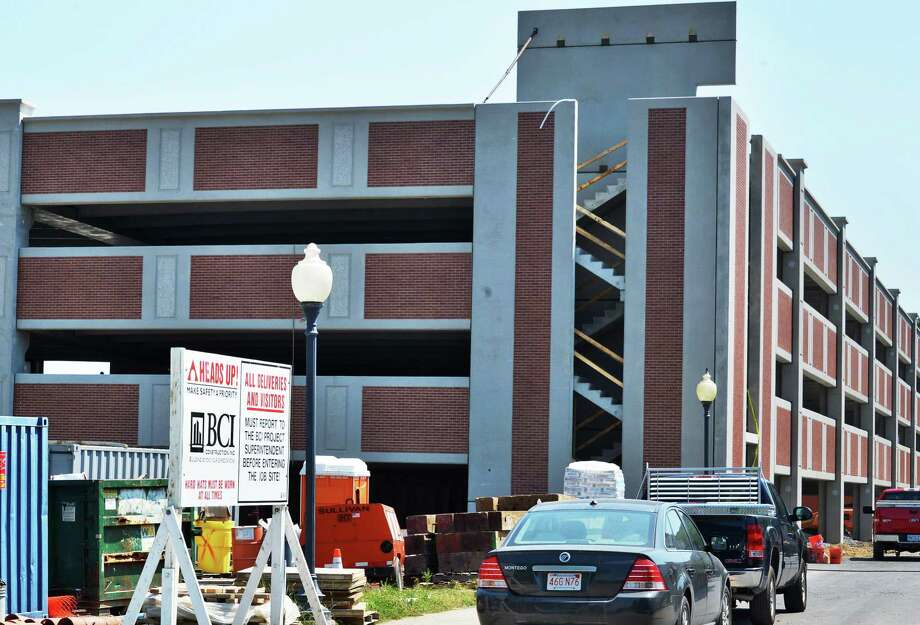 New multi-story parking garage being built at 6 Woodlawn Ave. in Saratoga Springs, site of a collapse that injured construction worker Thursday June 21, 2012.   (John Carl D'Annibale / Times Union) Photo: John Carl D'Annibale / 00018203A