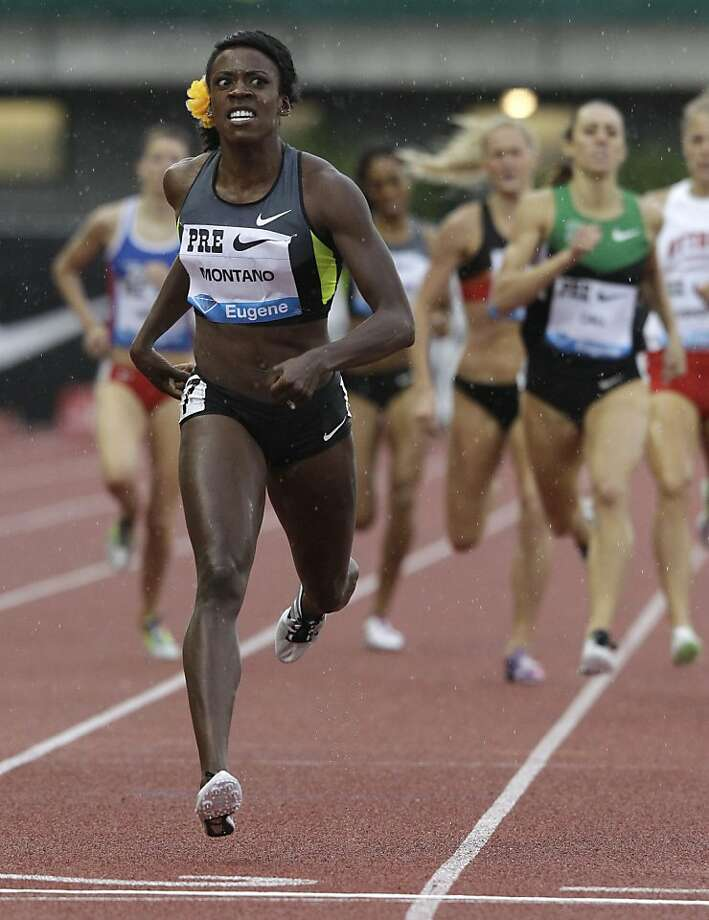 USA's Alysia Montano wins the 800-meter event, Friday, June 1, 2012, in the Prefontaine Classic athletics meet, in Eugene, Ore. (AP Photo/Ted S. Warren) Photo: Ted S. Warren, Associated Press