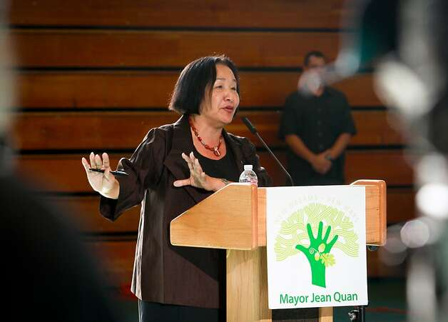 Oakland Mayor Jean Quan announces a new crime prevention plan at Laney College in Oakland, Calif., on Thursday, October 15, 2011. Photo: John Storey, Special To The Chronicle