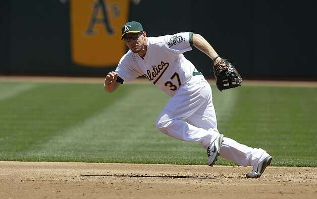 Oakland Athletics' Brandon Moss (37) against the San Diego Padres in a baseball game in Oakland, Calif., Saturday, June 16, 2012. (AP Photo/Jeff Chiu) Photo: Jeff Chiu, Associated Press