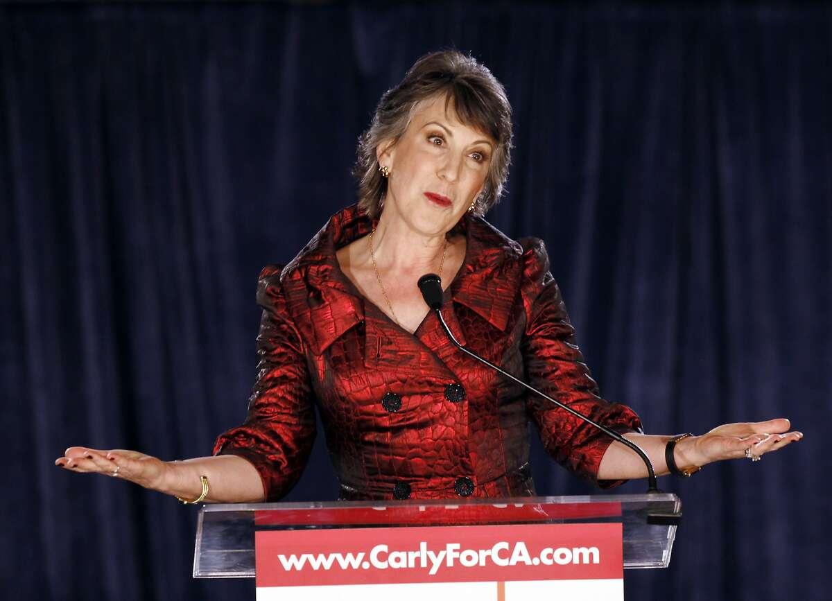 California Republican Senate candidate Carly Fiorina addresses supporters in Irvine, Calif., Tuesday, Nov. 2, 2010.