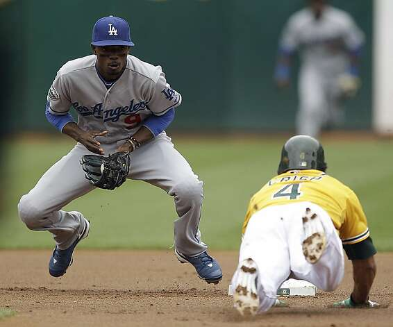 Los Angeles Dodgers shortstop Dee Gordon, left, prepares to make the tag on Oakland Athletics' Coco Crisp during the first inning of a baseball game, Thursday, June 21, 2012, in Oakland, Calif. Crisp was tagged out while attempting to steal second. (AP Photo/Ben Margot) Photo: Ben Margot, Associated Press
