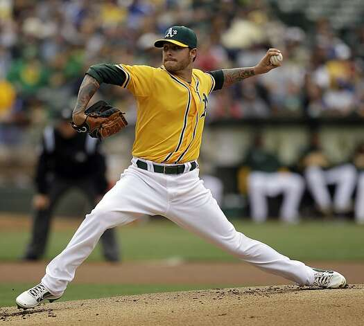 Oakland Athletics' Travis Blackley works against the Los Angeles Dodgers in the first inning of a baseball game, Thursday, June 21, 2012, in Oakland, Calif. (AP Photo/Ben Margot) Photo: Ben Margot, Associated Press