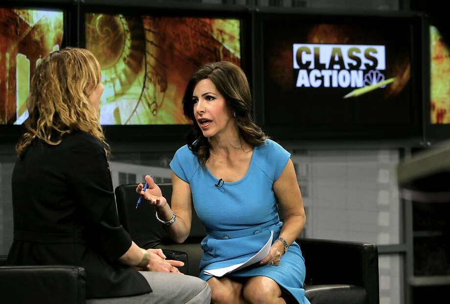 "Author of ""Raising Happiness"", Christine Carter, (left) is interviewed by Jessica Aguirre, NBC11 News co-anchor and host of ""Class Action"" a program about the state of education in California,  during the taping of the show, on Wednesday May 2, 2012, in San Jose, Ca. Photo: Michael Macor, The Chronicle"