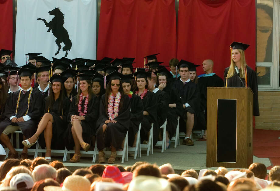 Graduate Lydia Brown gives the Salutatory Address, during Fairfield Warde High School's 8th Annual Commencement Exercises in Fairfield, Conn. on Thursday June 21, 2012. Photo: Christian Abraham / Connecticut Post