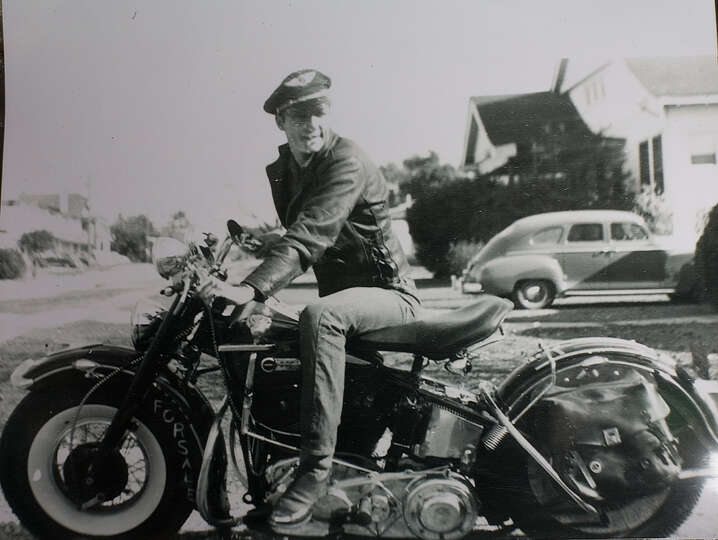 Lee (Skeeter) Stath  astride his Harley Daavidson in San Antonio in 1948.